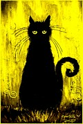 Donatella Muggianu Prints - Sad and ruffled cat gold version Print by Donatella Muggianu