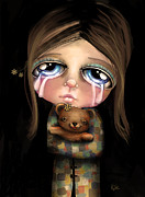 Little Girls Digital Art - Sad Eyes by Karin Taylor