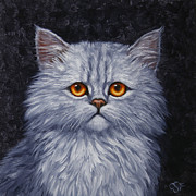 Gray Painting Posters - Sad Kitty Poster by Crista Forest