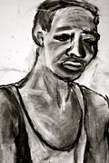 African American Man Drawings Prints - Sad Man Print by Michelle Kamme