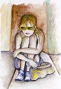 Problem Painting Framed Prints - Sad Maria - teenager girl Framed Print by Irina Gromovaja