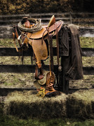 Hay Bales Digital Art Posters - Saddle and Gear Poster by Jerry Fornarotto