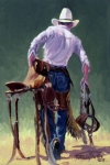 Levis Prints - Saddle Bronc Rider Print by Randy Follis
