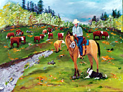 Cattle Framed Prints Painting Framed Prints - Saddle Pals Framed Print by Gail Daley