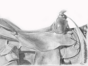 Wild Horses Drawings - Saddle by Sabrina  Thiel