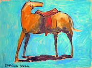 Drawing Painting Originals - SADDLED PONY series by Charlie Spear