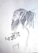 Religious Drawings Metal Prints - Sadhu Metal Print by Amit Sanger