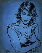 Feminine Drawings Originals - Sadie Blue by John Ashton Golden