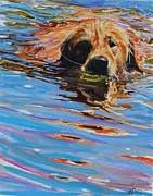 Dog Swimming Paintings - Sadie Has A Ball by Molly Poole