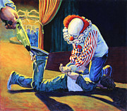 Carousel Painting Originals - Sadistic Clowns by Mike Walrath