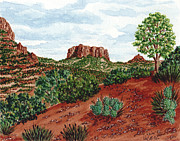 Canyons Paintings - Sadona Two Mountains by Val Miller