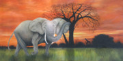 Original Oil On Canvas Posters - Safari Elephant Poster by Cecilia  Brendel