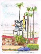 Cards Vintage Painting Prints - Safari-Inn-Motel-Burbank-CA Print by Carlos G Groppa