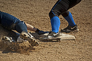 Softball Photos - Safe at 3rd by Dale Stillman