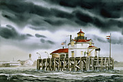 Lighthouse Art Paintings - Safe Harbor Light by James Williamson