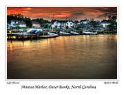 Docked Sailboats Posters - Safe Harbor Manteo North Carolina Poster by  Gene  Bleile Photography