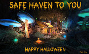 Haunted House Digital Art - Safe Haven - Halloween Greeting Card by Kylie Sabra