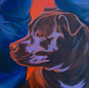 Staffie Paintings - Safe Here by Lesley McVicar