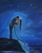 Picture Of Mermaid Posters - Safe In Your Arms Poster by Leslie Allen