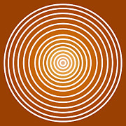 Buddhism Paintings - Saffron Colored Abstract Circles by Frank Tschakert