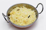 Saffron Framed Prints - Saffron rice in a kadai bowl Framed Print by Paul Cowan