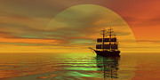 Boating Digital Art - Saffron Skies by Corey Ford
