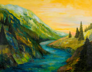 Colorado River Paintings - Saffron Sky by Larry Martin