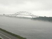 Fog Tapestries - Textiles Prints - Sagamore Bridge Cape Cod Print by Lisa  Marie Germaine