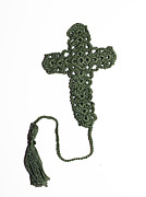 Religious Tapestries - Textiles Originals - Sage Cross Bookmark by Diane M