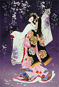 Purple Robe Framed Prints - Sagi No Mai Framed Print by Haruyo Morita