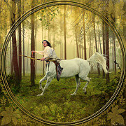 Archer Framed Prints - Sagittarius Framed Print by Linda Lees