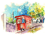 Beer Drawings Prints - Sagres Beer Stand in Barca de Alva in Portugal Print by Miki De Goodaboom