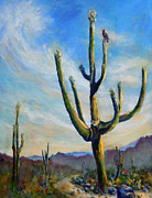 National Parks Paintings - Saguaro Cacti by Carolyn Jarvis