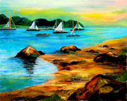 Sailboat Paintings - Sail Away by Larry Martin