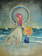 Mother Drawings Prints - Sail Away Print by Lucy Stephens
