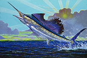 Striped Marlin Prints - Sail away Off0014 Print by Carey Chen