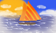 Boating Digital Art - Sail Away On A Foggy Day  by Andee Photography