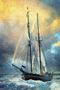 Pirate Ships Painting Prints - Sail Away to Avalon Print by Taylan Soyturk