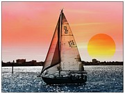 Sunset Posters Digital Art Framed Prints - Sail away with me Framed Print by Athala Carole Bruckner