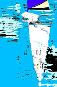 Sailboat Ocean Mixed Media Posters - Sail Boat Abstract Pop Art Poster Poster by Adspice Studios