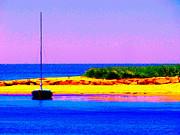 Sail Boat At Twilight Print by Annie Zeno