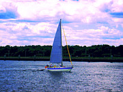 Sail Boat With An American Flag Print by Annie Zeno