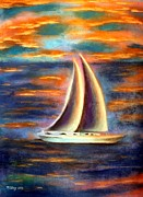 Michael Alvarez Pastels Posters - Sail off to a distant shore Poster by Michael Alvarez