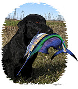 Black Lab Digital Art Metal Prints - Sail Retriever  Metal Print by Carey Chen