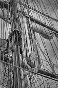 Sail Boats Prints - Sail Ship Mast BW Print by Susan Candelario