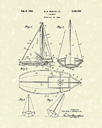 Sports Art Drawings Posters - Sailboat 1948 Patent Art Poster by Prior Art Design