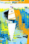 Clean Mixed Media Prints - Sailboat Abstract Pop Art Print by Adspice Studios
