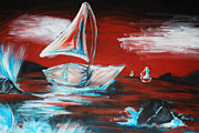 Crashing Waves Paintings - Sailboat Against a Red Sky by Jaclyn Barrows