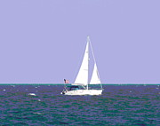 Catboat Framed Prints - Sailboat and Flag Framed Print by Cathy Lindsey