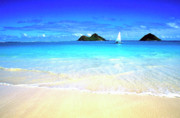 Oahu Photos - Sailboat and Islands by Thomas R Fletcher